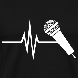 My heart beats for singing - music singing micro - Men's Premium T-Shirt