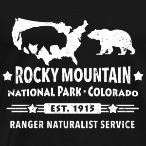 Rocky Mountain National Park Mountain Bison Grizzly Bear - Herre premium T-shirt