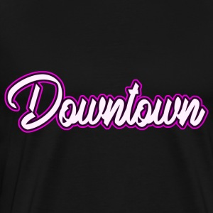 Downtown neon rosa - Premium T-skjorte for menn