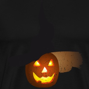 Halloween pumpkin glowing eyes with hat - vintage - Men's Premium T-Shirt