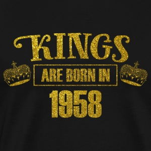 kings are born in 1958 - Geburtstag Koenig Gold - Männer Premium T-Shirt