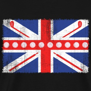 Vintage Flag> UK Flag Made of Golf Balls + Clubs - Men's Premium T-Shirt