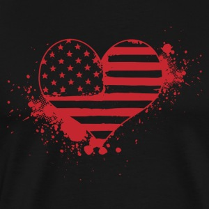 USA hjärta! USA! Patriot! Amerika! - Premium-T-shirt herr