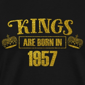 kings are born in 1957 - Geburtstag Koenig Gold - Männer Premium T-Shirt
