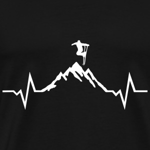 Skiing - Skier, Mountain and ECG Heartbeat