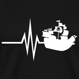 My heart beats for pirate skull flag - Men's Premium T-Shirt