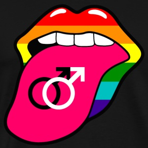Gay pride rainbow mouth and tongue with gay symbol - Men's Premium T-Shirt