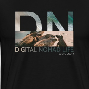 "Digital Nomad ""Iguana"" ~ Black Edition - Premium T-skjorte for menn"