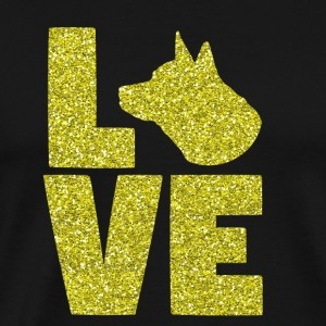 I Love My Dog - Dog Gold Glitter Pet - Men's Premium T-Shirt