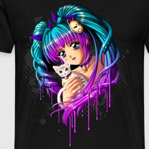 Kitten and Pigtail Manga Girl - Men's Premium T-Shirt