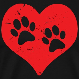 Coeur Paws Dog Cat Pet amour amour Kitty (rouge) - T-shirt Premium Homme