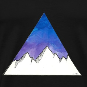 Mountains in the triangle on a violet / blue background