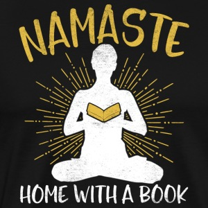 Namaste - Home with a book - Men's Premium T-Shirt