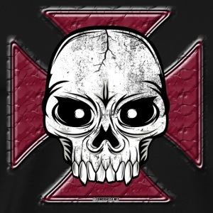 20-07 Iron Cross Skull, Skull Iron Cross - Men's Premium T-Shirt