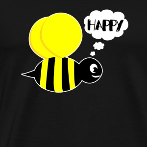 Be happy happiness christmas gift bee flying - Men's Premium T-Shirt