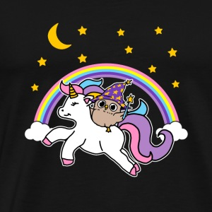 Magi Owl riding unicorn gave - Premium T-skjorte for menn