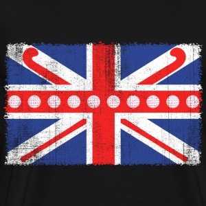 Vintage Flag> UK sjunker Made of Hockey bollar + Stic - Premium-T-shirt herr