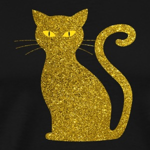 Golden Cat - Golden Cat Gold Glitter Glitter - Premium-T-shirt herr