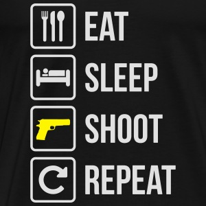 Eat Sleep Shoot Gentag Guns - Herre premium T-shirt