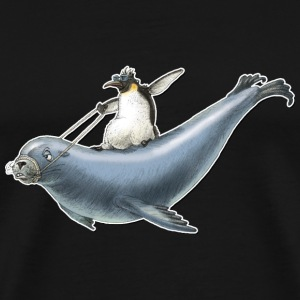 shirt motiv penguin sea lion surfing nordic surfing - Men's Premium T-Shirt