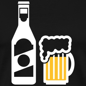 Beer bottle with beer glass - Men's Premium T-Shirt