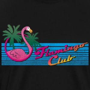 80 Miami Style: Pink Flamingo Club + Palm Trees - T-shirt Premium Homme