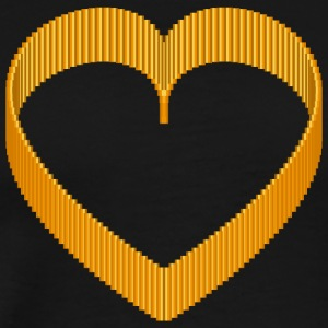 Pixel 3D Heart Orange AllroundDesigns - Men's Premium T-Shirt