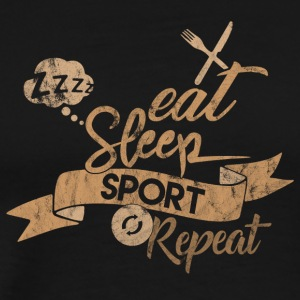 EET SLAAP SPORTS REPEAT - Mannen Premium T-shirt