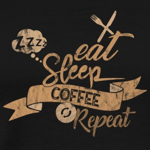 EET SLAAP COFFEE REPEAT - Mannen Premium T-shirt
