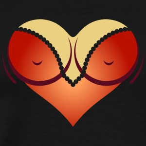 Heart-shaped Woman's Breasts With Deep Cleavage - Men's Premium T-Shirt