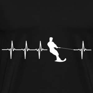 Water skiing, heartbeat design - Men's Premium T-Shirt