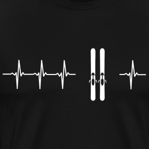 I love skiing (ski heartbeat) - Men's Premium T-Shirt