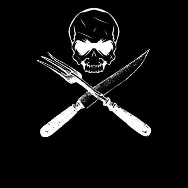 Koch T-Shirt Kleidung lustig Motiv mit Skull Totenkopf Kochen Messer Jacke Küche