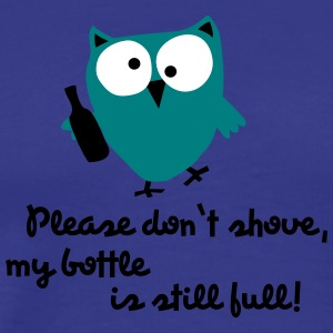 Funny Owl with bottle - please don't shove - Men's Premium T-Shirt