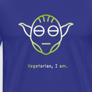 yoda vegetarian Vegg green Icon Head Star Line Fun - Men's Premium T-Shirt