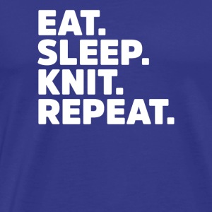 Spis Sleep Knit Repeat - Funny Knitting Hæklet - Herre premium T-shirt