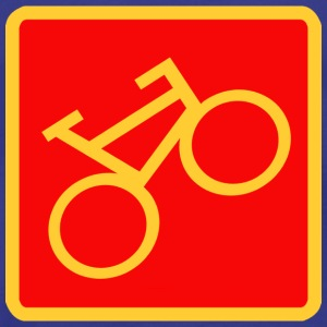 Sign «Bicycle», yellow on a red background - Men's Premium T-Shirt