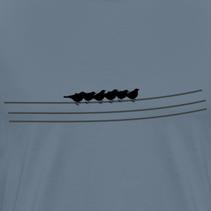 Birds / flock of birds on power line sitting - Men's Premium T-Shirt