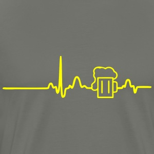 ECG HEART BEER LINE yellow - Men's Premium T-Shirt