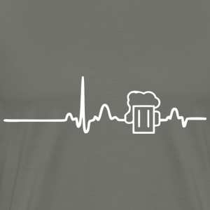 ECG HEART BEER LINE white - Men's Premium T-Shirt