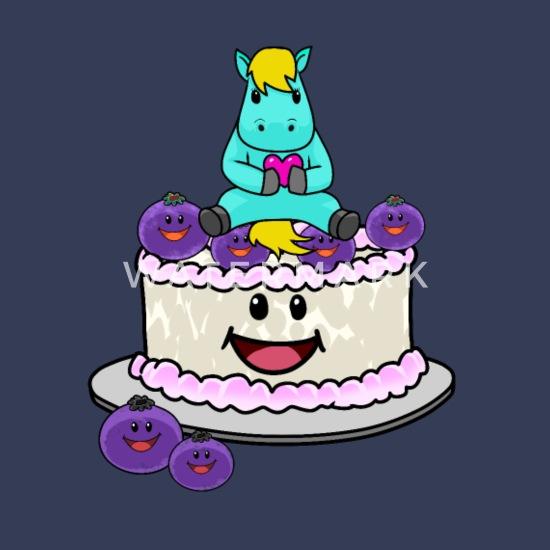 Torta Di Compleanno Per Bambini Con Bambini Fantasia Di Cavallo Maglietta Premium Da Uomo Navy