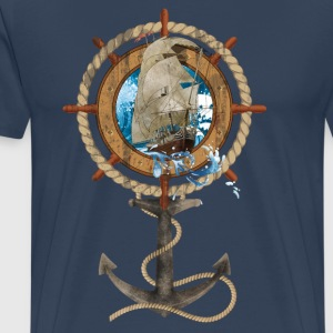 Roer met Sailing Ship and Anchor - Mannen Premium T-shirt