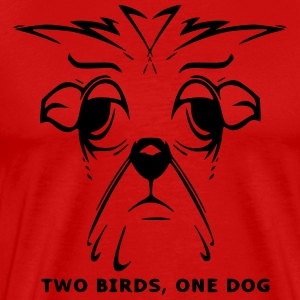 TWO BIRDS, ONE DOG - Men's Premium T-Shirt