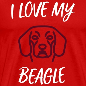 I Love My Beagle (gave) - Herre premium T-shirt