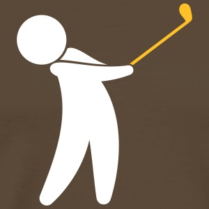 A Golfer Swings His Golf Club - Men's Premium T-Shirt