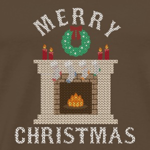 Ugly Christmas Fireplace Fire Christmas Cold - Men's Premium T-Shirt