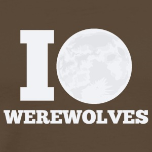 Varulv / Halloween: I Love / Moon Werewolves - Premium T-skjorte for menn