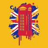 red telephone box with a British flag - Men's Premium T-Shirt