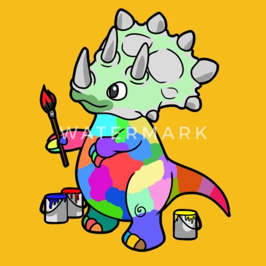 Dino Dinosaurier Künstler Malen Kinder Baby Männer Premium T Shirt Sonnengelb