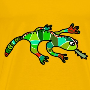 Salamander Gecko Lizard green red tropical - Men's Premium T-Shirt